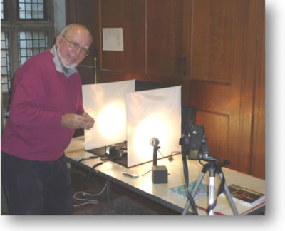 Chris Greening (below), who recently joined the Church Recording photographic team, is seen here doing some highly technical recording.