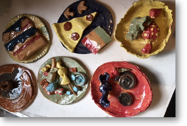 Park School Woking does not have a kiln on site and the craft of clay modelling is restricted to using air-drying clay, which cracks easily. With Angie Child, the pupils were able to create and decorate their own pieces, which she then took away to be fired in her own kiln.